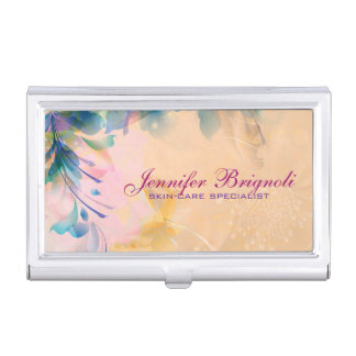 Abstract Floral Background Blue And Beige Business Card Holder
