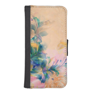 Abstract Floral Background Blue And Beige iPhone SE/5/5s Wallet Case