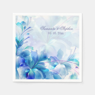 Abstract Floral Background Blue And White Monogram Disposable Napkins