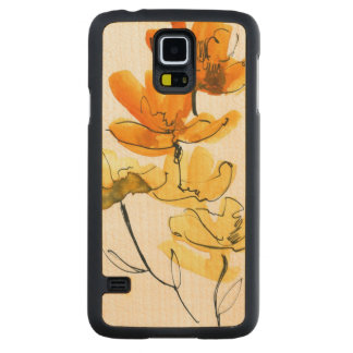 Abstract floral background carved maple galaxy s5 case