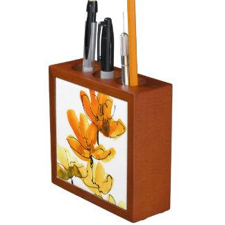 Abstract floral background desk organiser
