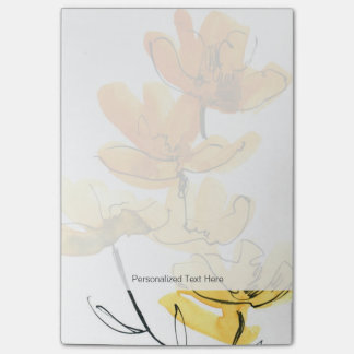 Abstract floral background post-it notes