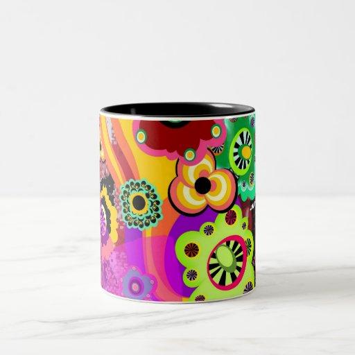 Abstract Floral Bakelite Coffee Mugs