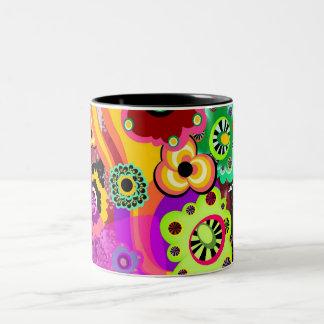 Abstract Floral Bakelite Two-Tone Mug