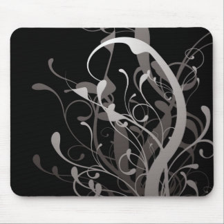 abstract floral black mouse pad