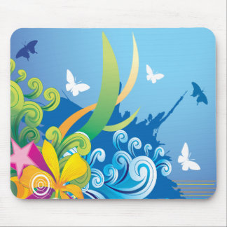 Abstract Floral Butterfly Mousepad Mouse Pads