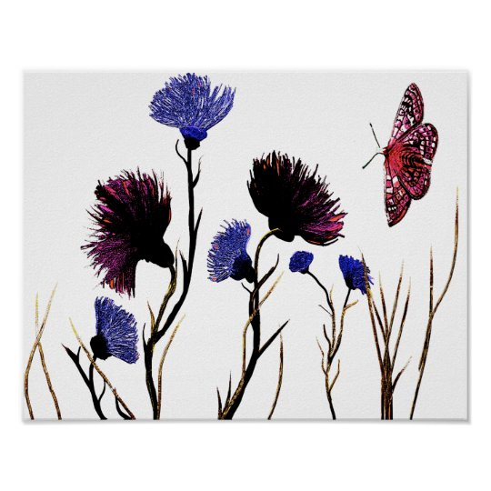 Abstract Floral Canvas Poster