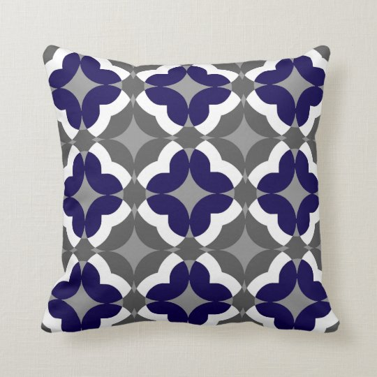 Abstract Floral Clover Pattern in Cobalt and Grey