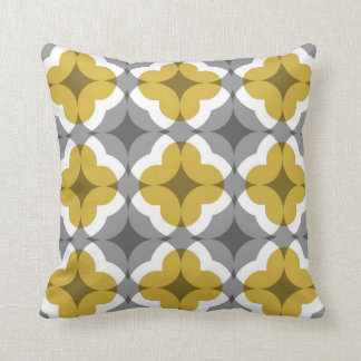 Abstract Floral Clover Pattern in Mustard and Grey Cushion