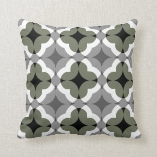 Abstract Floral Clover Pattern in Olive and Grey Cushion