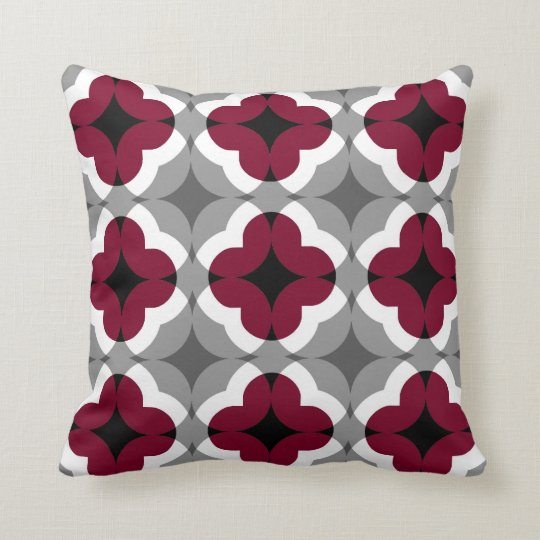 Abstract Floral Clover Pattern in Red and Grey