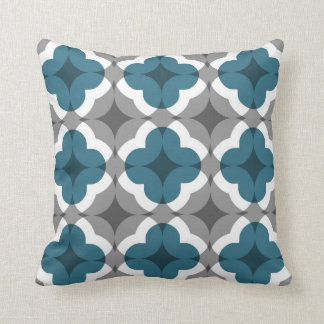 Abstract Floral Clover Pattern in Teal and Grey Cushion