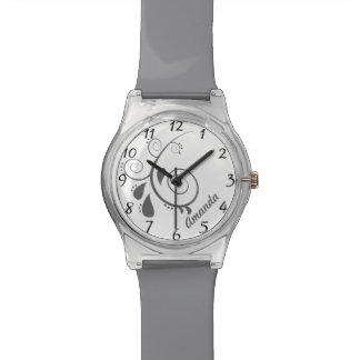 Abstract Floral Custom Name Watch