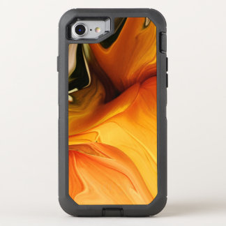 Abstract Floral Dance in Shades of Orange OtterBox Defender iPhone 8/7 Case