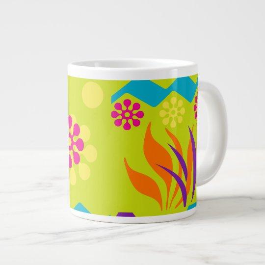 Abstract floral design jumbo coffee mug