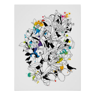 abstract floral design print