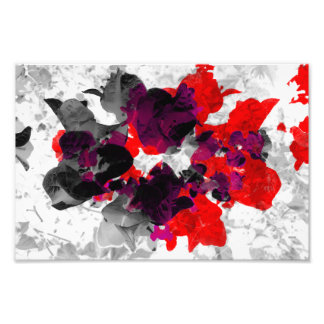 Abstract floral design - red and purple over white photo print