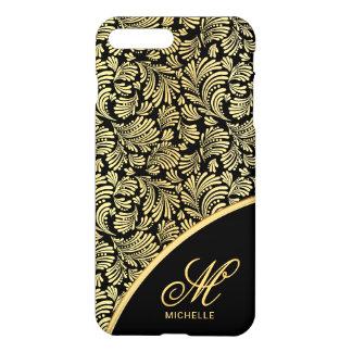 Abstract Floral Elegant Gold Black Ladies Monogram iPhone 8 Plus/7 Plus Case
