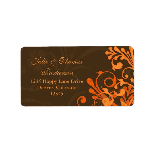 Abstract Floral Fall Wedding Return Address Label