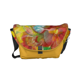 Abstract Floral Flower Red Yellow Blue Rucksack Courier Bags