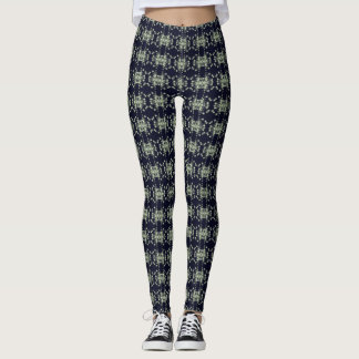 Abstract Floral Graphic Pattern Blue and Green Leggings