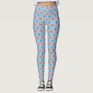 Abstract Floral Graphic Pattern Blue and Red Leggings