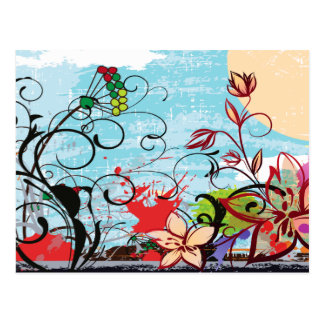 Abstract Floral Grunge Postcard