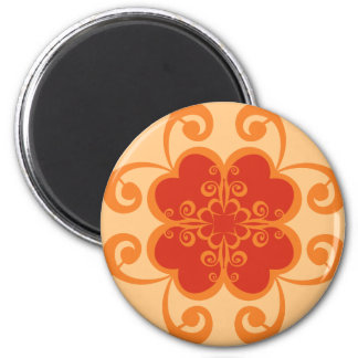 Abstract Floral in Orange 6 Cm Round Magnet