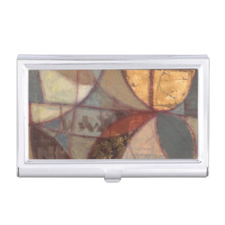 Abstract Floral Leaf Painting by Norman Wyatt Business Card Holder