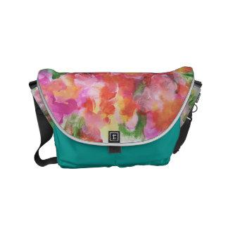 Abstract Floral Messenger Bag