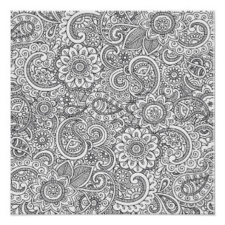 Abstract floral paisley coloring Poster