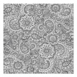 Abstract floral paisley colouring Poster