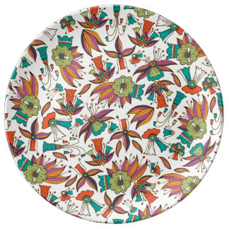 abstract floral pattern design plate