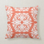 Abstract Floral Pattern in Orange Cushion