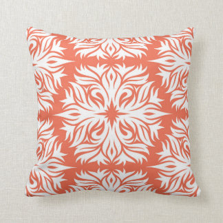 Abstract Floral Pattern in Orange Throw Pillow