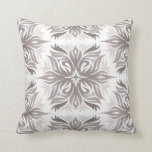 Abstract Floral Pattern in Shades of Taupe Cushion