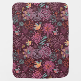 Abstract floral pattern with birds baby blanket