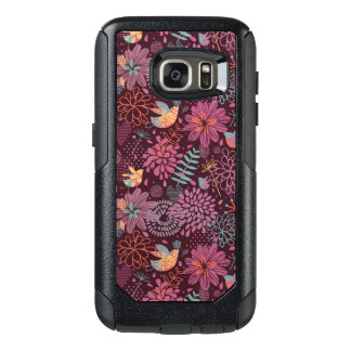 Abstract floral pattern with birds OtterBox samsung galaxy s7 case