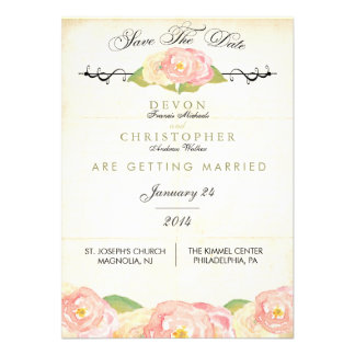Abstract Floral Pink Cream Save The Date Card
