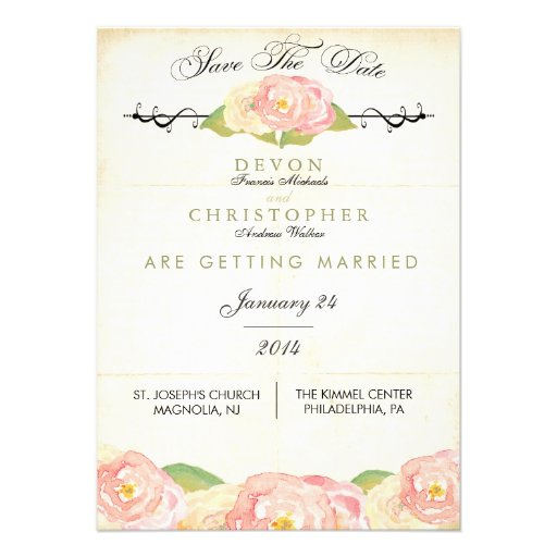 Abstract Floral Pink & Cream Save The Date Card