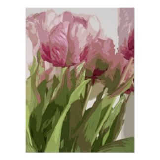 Abstract Floral - Pink Tulips 4 Poster