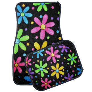 Abstract Floral Print on Car Mats