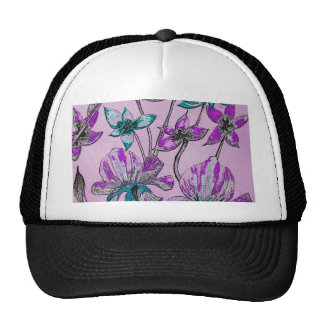 Abstract Floral Purple Trucker Hats