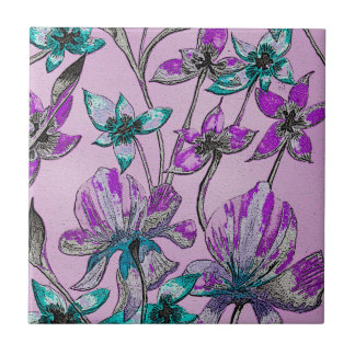 Abstract Floral Purple Tile