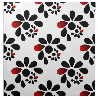 Abstract Floral Red and Black Napkin