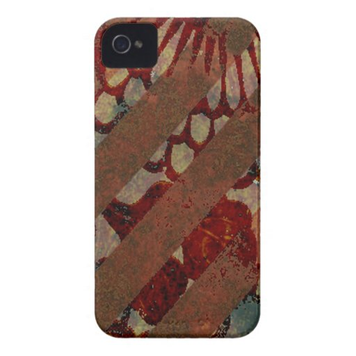 Abstract Floral Red and Brown with Grunge Stripes Case-Mate iPhone 4 Case