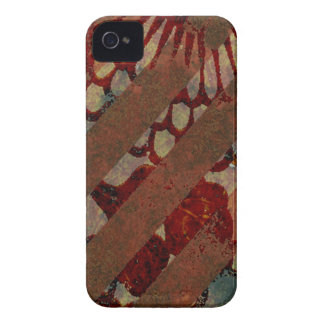 Abstract Floral Red and Brown with Grunge Stripes Blackberry Bold Cases