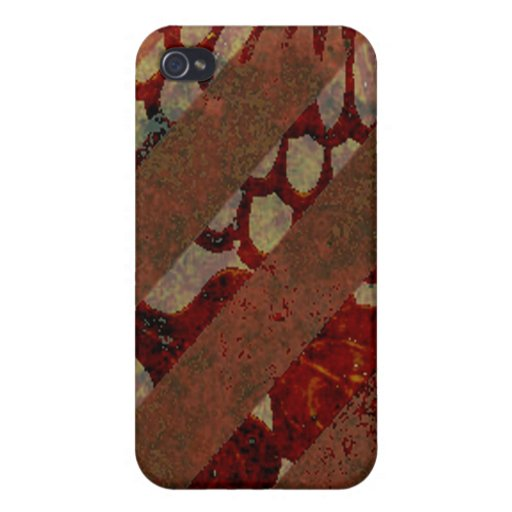 Abstract Floral Red and Brown with Grunge Stripes Case For iPhone 4