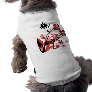 Abstract Floral red pink black Dog Tee