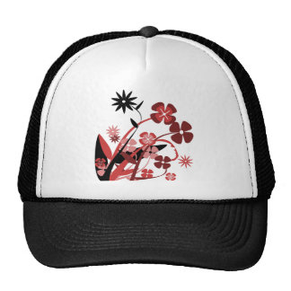 Abstract Floral red, pink, black Trucker Hat